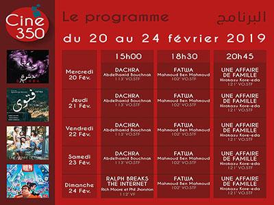 Programme Ciné 350 du 20 au 24 FEVRIER 2019